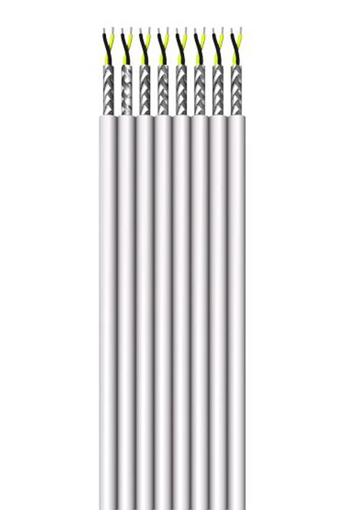 Flachbandleitung, paarig geschirmt,  8 x (LiYC 2 x 0,14)-Y flach, 16 Adern