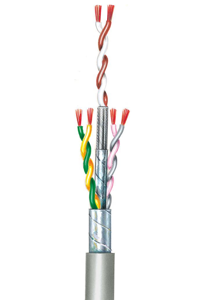 Flexible Anschlussschnüre, paarverseilt, geschirmt (Umseilung) LiY-LiY(CB)-Y 0,14, 6 Adern