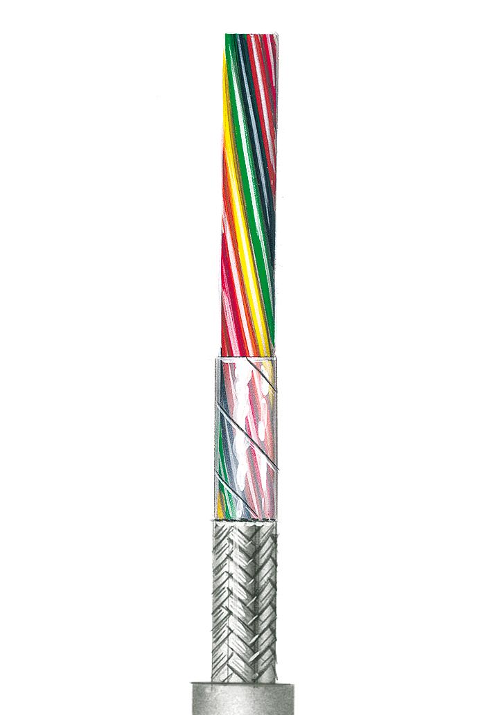 Flexible lichtgraue Steuerleitung, geschirmt AWG 24 C, 10 Adern