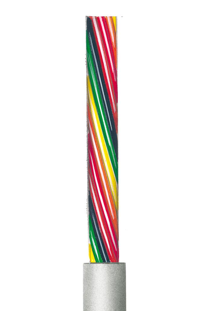 Flexible lichtgraue Steuerleitung, ungeschirmt AWG 24, 2 Adern