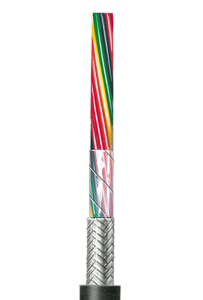Flexible schwarze Steuerleitung, geschirmt AWG 28 C UL 2464/1061