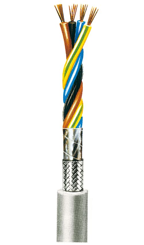 Starkstromleitung, geschirmt (N)YMHCY 1,0, 2 Adern