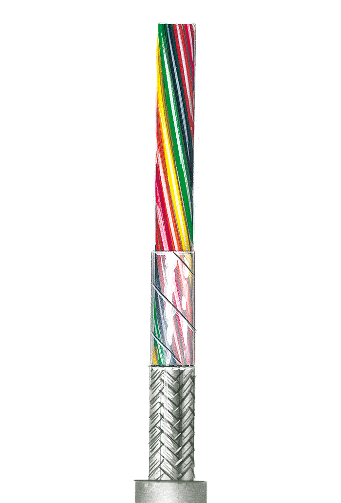 Flexible gray Control Cable, shielded AWG 26 C, 2 Cores